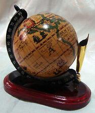 Vintage Desk Pen Pencil Holder Globe with Wooden Base