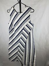 Veronika Maine Size 12 Linen Cotton Navy Striped Dress Linen Cotton Shift