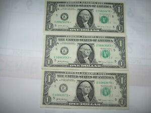 3-2017 $1 Star Notes Very Low Serial Numbers Uncirculated