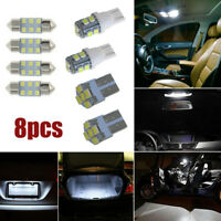 8x White LED Bulb For Car Dome Map License Plate Light Interior LED Package Lamp