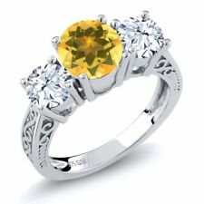 Citrine Yellow Fine Rings