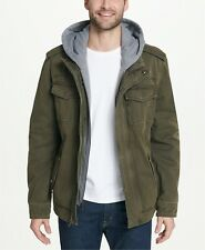 Levi's Men's Sherpa Lined Military Jacket Removable Hood Medium Olive Green,$189