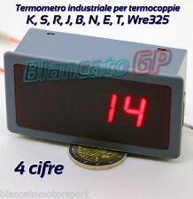 TERMOMETRO PER TERMOCOPPIE (K, S, R, J, B, N, E, T, Wre325) 4 CIFRE 12V DC