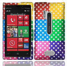 For Nokia Lumia 928 Rubberized HARD Case Snap On Phone Cover Colorful Dots