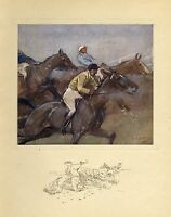HORSES STEEPLE-CHASING ANTIQUE COLOR SPORTING PRINT JOCKEY SADDLE HORSE RACE