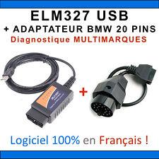 Interface ELM327 USB + ADAPTATEUR BMW 20 PINS - Valise DIAG Multimarques OBD2 Ø