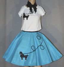 "3 PC Aqua Blue 50's Poodle Skirt outfit Girl Sizes 10,11,12,13 W 25""-32"" L23"""