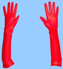 NEW size 7 SILK LINED EXTRA LONG RED GENUINE LAMBSKIN LEATHER GLOVES