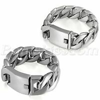Heavy Silver Tone Polished Stainless Steel Curb Chain Link Buckle Men's Bracelet