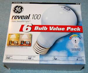 Lot of 6 GE Reveal 100 Watt A19 Incandescent Light Bulbs (#49349), New