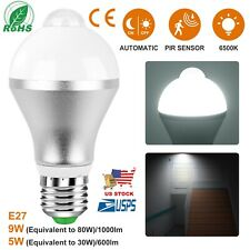 E27 Motion Sensor LED Light Bulb 6500k Auto On/Off Dusk to Dawn 9W  In/Outdoor