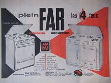 PUBLICITÉ DE PRESSE 1961 GAZINIÈRES PLEIN FAR LES 4 FEUX SÉDUCTION - ADVERTISING