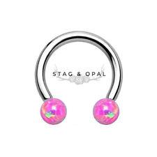 New Septum Nose Eyebrow Horseshoe Ball Closure Piercing Pierced Opal Pink