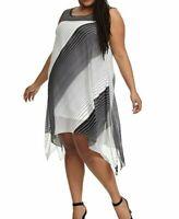 Signature By Robbie Bee Sleeveless Swing Dress In Black Stripe Size 18W