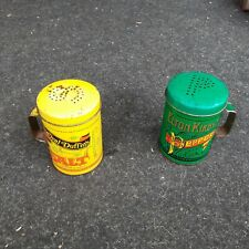 More details for percival duffins salt and elton kirby,s pepper vintage metal shakers