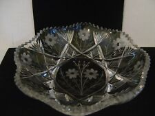 VINTAGE LARGE CUT GLASS SHALLOW BOWL WITH  FLOWERS, FANS AND DIAMONDS