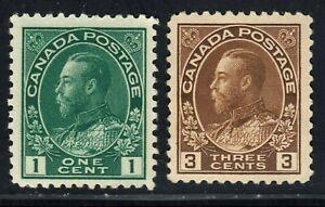 King George V Scott's # 104 & 108 - 1 & 3 cent Green & Brown MNH CV $250.00 US