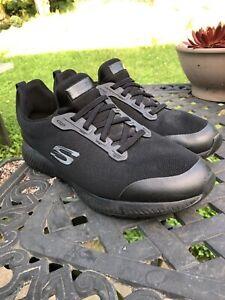 Skechers Womens 77222 Squad SR Black Slip Resistant Work Shoes Size 11