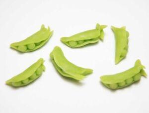 Set of 6 Dollhouse Miniature Peas in Pods * Doll Mini Food Tiny Vegetable