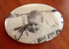 1930s Depression Era Pocket Furnace Mirror Oval-Shaped w/ Child Photo