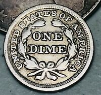 1856 Seated Liberty Dime 10c High Grade Good Small Date US Silver Coin CC4882