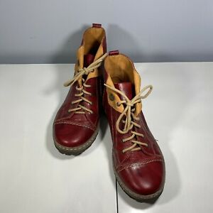 V Italia Kiki Womens Size US 7.5 EU 38 Leather Lace Up Ankle Boots Booties Red