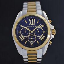 Michael Kors Bradshaw Unisex Armbanduhr 43mm Edelstahlgehäuse, Silber/Goldtone Armband, Blau Zifferblatt - (MK5976)