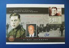 2004 D giorno sessantesimo anniversario COVER FIRMATA LES PERRY BATTAGLIONE Suffolk Regiment