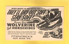 Iron River,Bayfield County,WI Wisconsin Fitzpatrick's Wolverine Shoes advertise