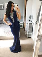 Quiz Navy Peplum Open Back Diamante V Neck Dress Ball Gown Long