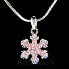 w Swarovski Crystal ~Pink SNOWFLAKE Xmas Holiday bridal Wedding Pendant Necklace