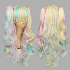 Rainbow Unicorn Gothic Lolita Cosplay Curly Hair Drag Race Wig + Cap 60cm Long