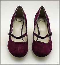 ZU WOMEN'S FASHION SUEDE WEDGED HEELS  MARY-JANE FASHION SHOES SIZE 8 NEW