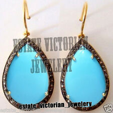 Turquoise Studded Silver Earring Jewelry Vintage Estate 1.95Cts Rose Cut Diamond