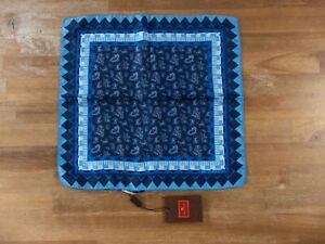 ETRO Milano blue mini paisley motif silk pocket square authentic - NWT