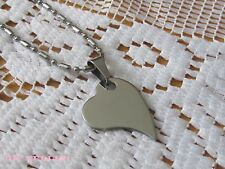 """HEART STAINLESS STEEL PENDANT ON A 18"""" Ball Chain (Free Gift Box)"""