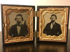 Antique Civil War Era Tintype Photographs in Daguerreotype Union Case c1800's