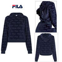 Fila Womens Abha Ao Burnout Logo Velour Hoodie Retro Sport Hooded Sweatshirt