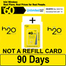 H2O Wireless $60 Plan 90 DAYS ($180 VALUE) Unltd Talk/Text/4G LTE Int'l Calls/$5