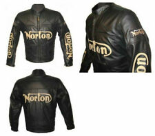 New Mens Racing Norton Full Black Cowhide Motorcycle Leather Jacket Safety Pads
