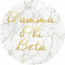 Gamma Phi Beta Light Marble with Gold Script Sticker Decal