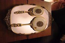 Vintage Vanity Tray & Lovely Vintage Hand Mirror Brush Comb Set Gold Filagree