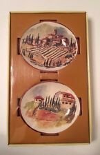 """Williams-Sonoma Tuscan Landscape Dipping Bowls Set 4 - 5.5"""" x 4.75"""" Oval - NEW"""