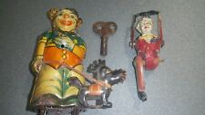 VINTAGE CLOWN WITH UMBRELA WALKING DOG DRGM PREWAR TIN TOY WIND UP GERMANY