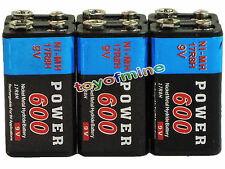 6x Durable 9V 9 volts 600mAh Black Power Ni-MH rechargeable PPS