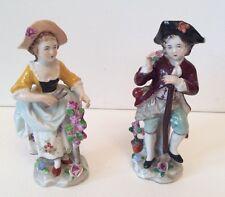 PASTORALE Sitzendorf STATUINE coppia di giardinaggio, late 19TH Secolo