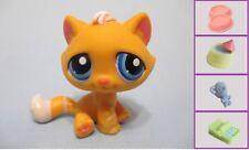 Littlest Pet Shop #349 Orange white stripes Tabby Cat +1 FREE Access Authentic
