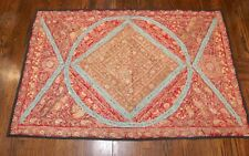 antique hand embroidered turkish metal threaded needlepoint textile tapestry rug