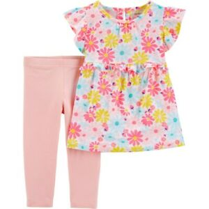 New Toddler Girl Carter's 2-Piece Floral Ruffle Top & Legging Set 4 5