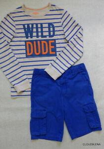 """GYMBOREE/Crazy 8 Pocket Cargo Shorts OshKosh """"Wild Dude"""" Striped T-shirt Size 12"""